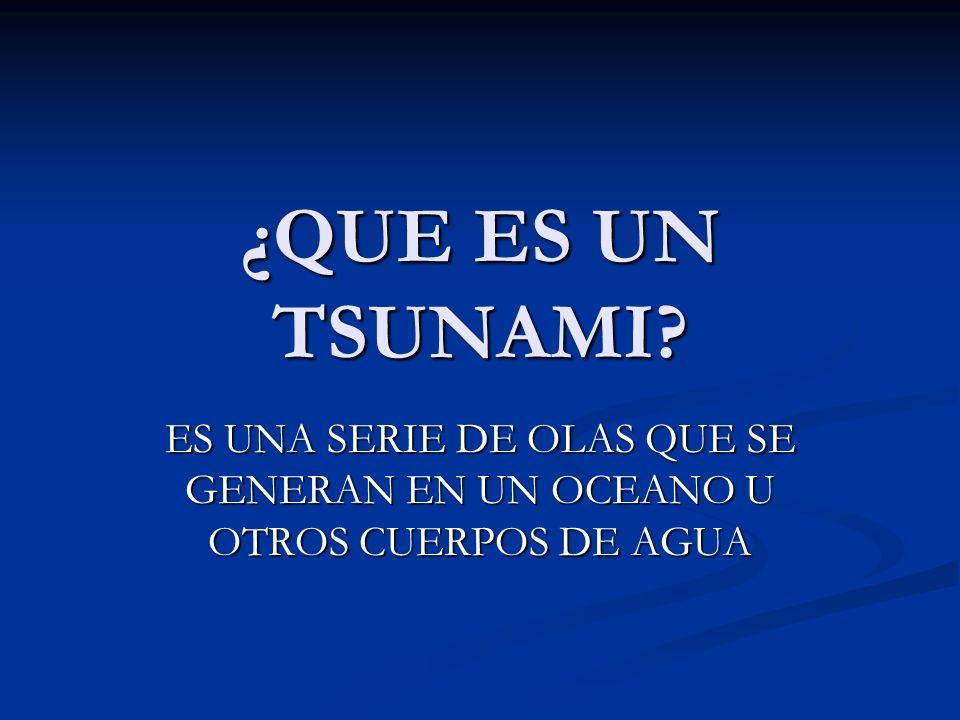 ¿QUE ES UN TSUNAMI? ES UNA SERIE DE OLAS QUE SE GENERAN EN UN OCEANO U OTROS CUERPOS DE AGUA