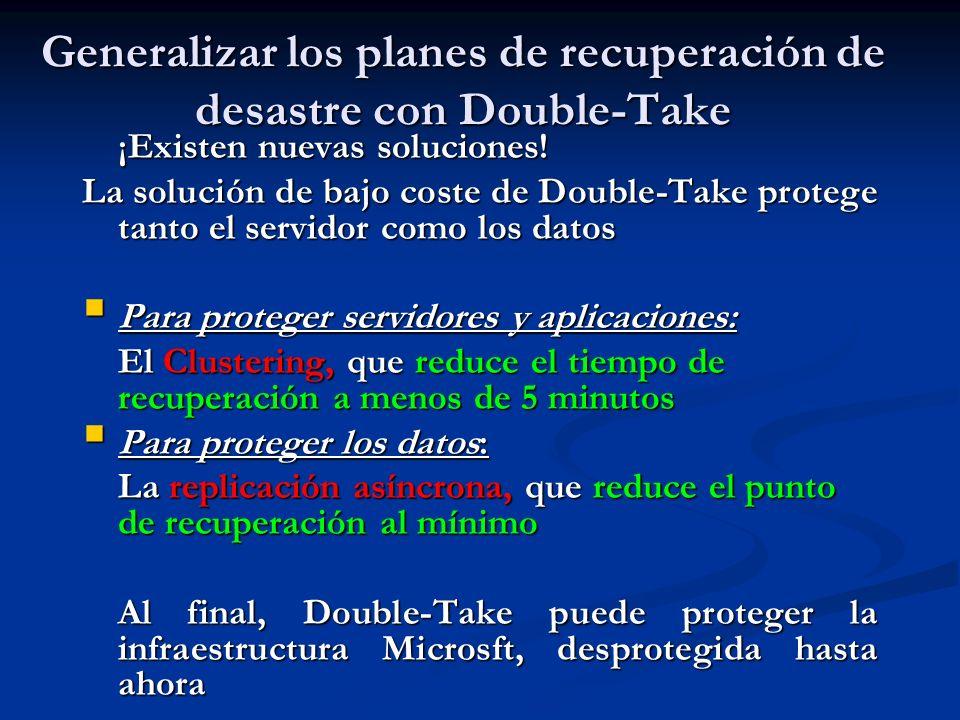 Generalizar los planes de recuperación de desastre con Double-Take ¡Existen nuevas soluciones! La solución de bajo coste de Double-Take protege tanto