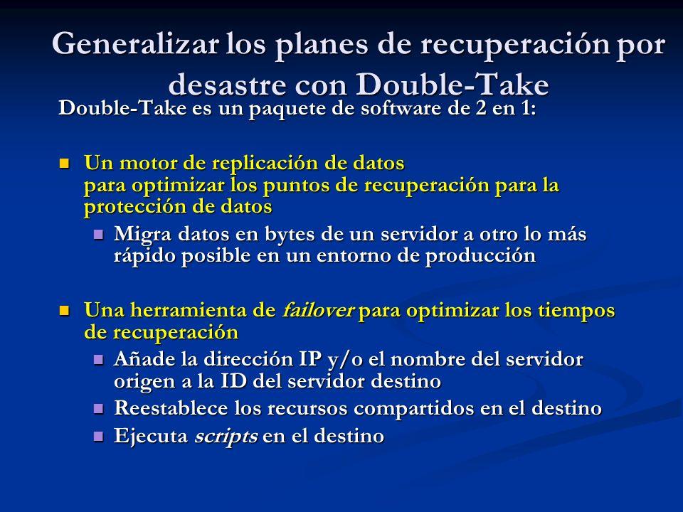 Generalizar los planes de recuperación por desastre con Double-Take Double-Take es un paquete de software de 2 en 1: Un motor de replicación de datos