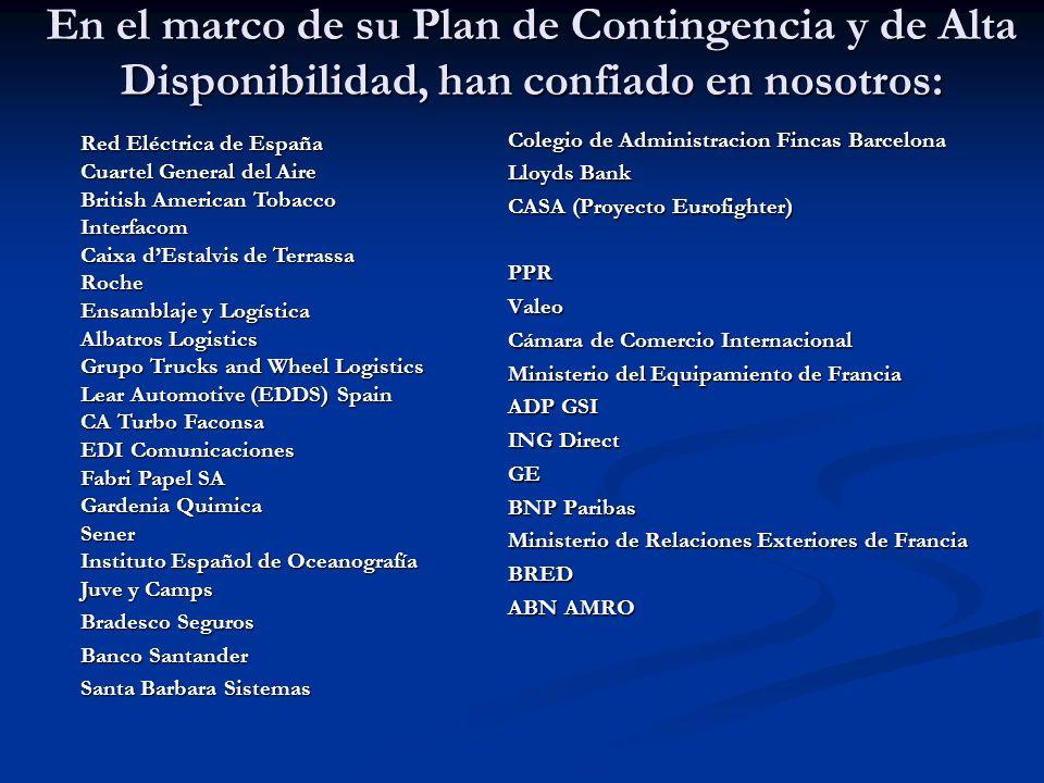 En el marco de su Plan de Contingencia y de Alta Disponibilidad, han confiado en nosotros: Colegio de Administracion Fincas Barcelona Lloyds Bank CASA