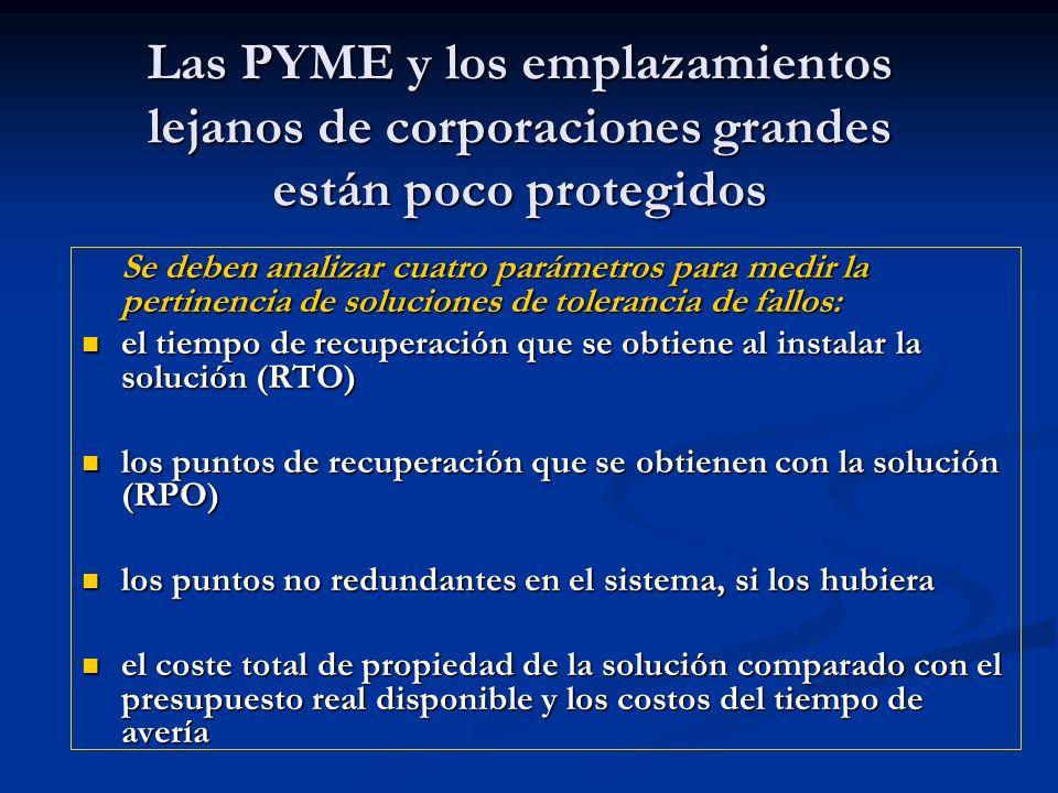 Las PYME y los emplazamientos lejanos de corporaciones grandes están poco protegidos Se deben analizar cuatro parámetros para medir la pertinencia de