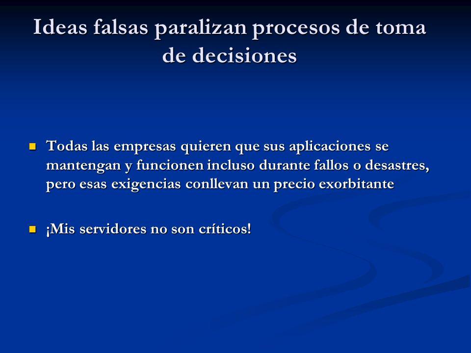 Ideas falsas paralizan procesos de toma de decisiones Todas las empresas quieren que sus aplicaciones se mantengan y funcionen incluso durante fallos