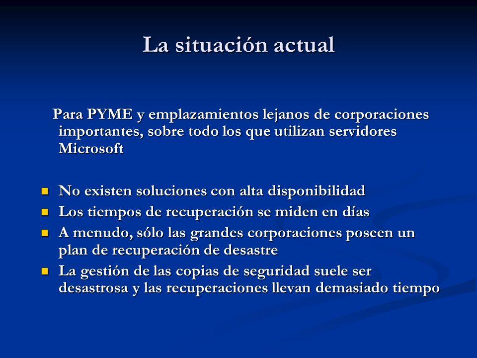 La situación actual Para PYME y emplazamientos lejanos de corporaciones importantes, sobre todo los que utilizan servidores Microsoft Para PYME y empl