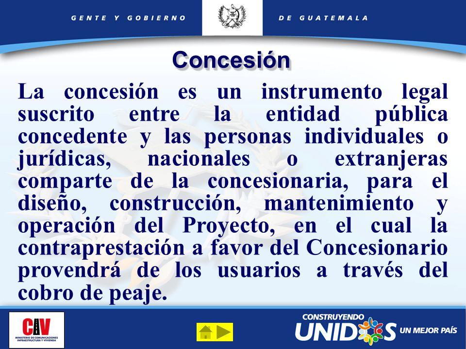 ConcesiónConcesión La concesión es un instrumento legal suscrito entre la entidad pública concedente y las personas individuales o jurídicas, nacional