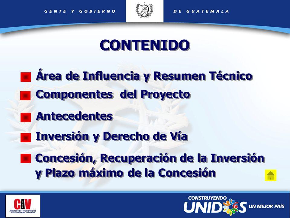 Antecedentes Inversión y Derecho de Vía Concesión, Recuperación de la Inversión y Plazo máximo de la Concesión Área de Influencia y Resumen Técnico CO