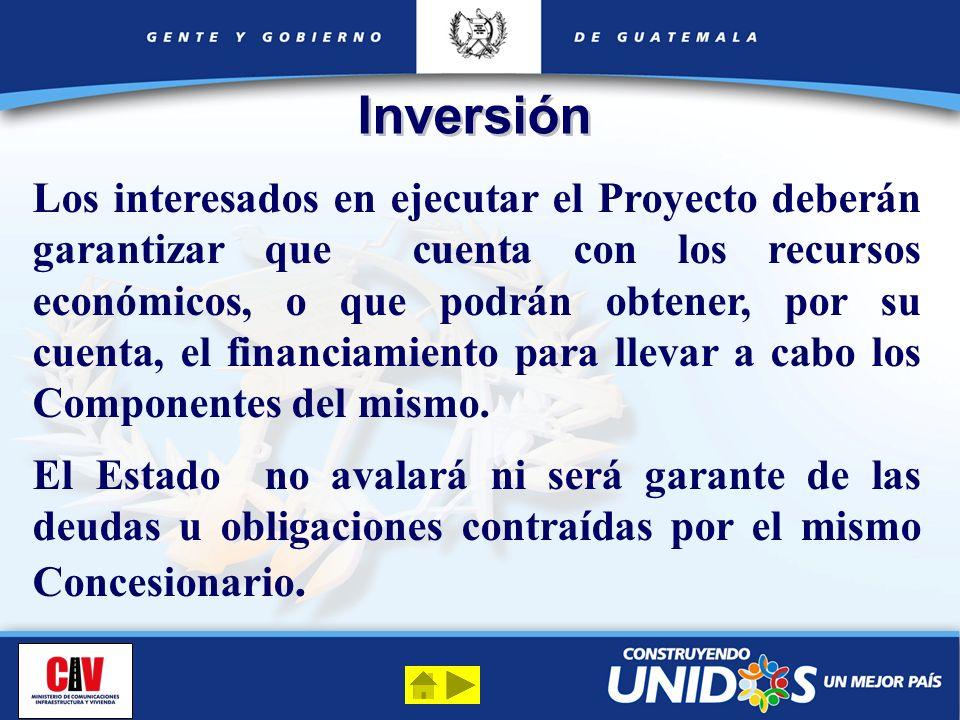 Inversión Los interesados en ejecutar el Proyecto deberán garantizar que cuenta con los recursos económicos, o que podrán obtener, por su cuenta, el f
