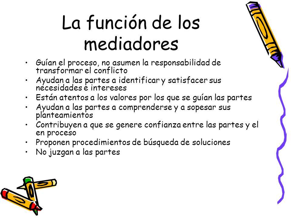 La función de los mediadores Guían el proceso, no asumen la responsabilidad de transformar el conflicto Ayudan a las partes a identificar y satisfacer