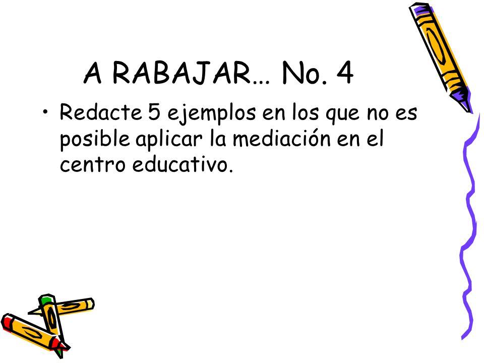 A RABAJAR… No. 4 Redacte 5 ejemplos en los que no es posible aplicar la mediación en el centro educativo.
