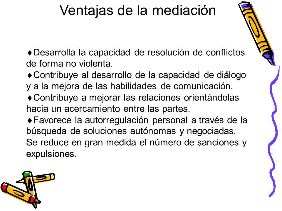 Ventajas de la mediación Desarrolla la capacidad de resolución de conflictos de forma no violenta. Contribuye al desarrollo de la capacidad de diálogo