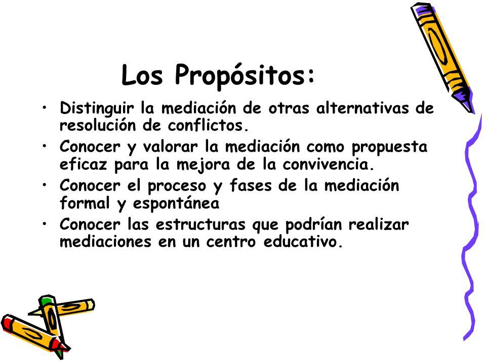 Los Propósitos: Distinguir la mediación de otras alternativas de resolución de conflictos. Conocer y valorar la mediación como propuesta eficaz para l