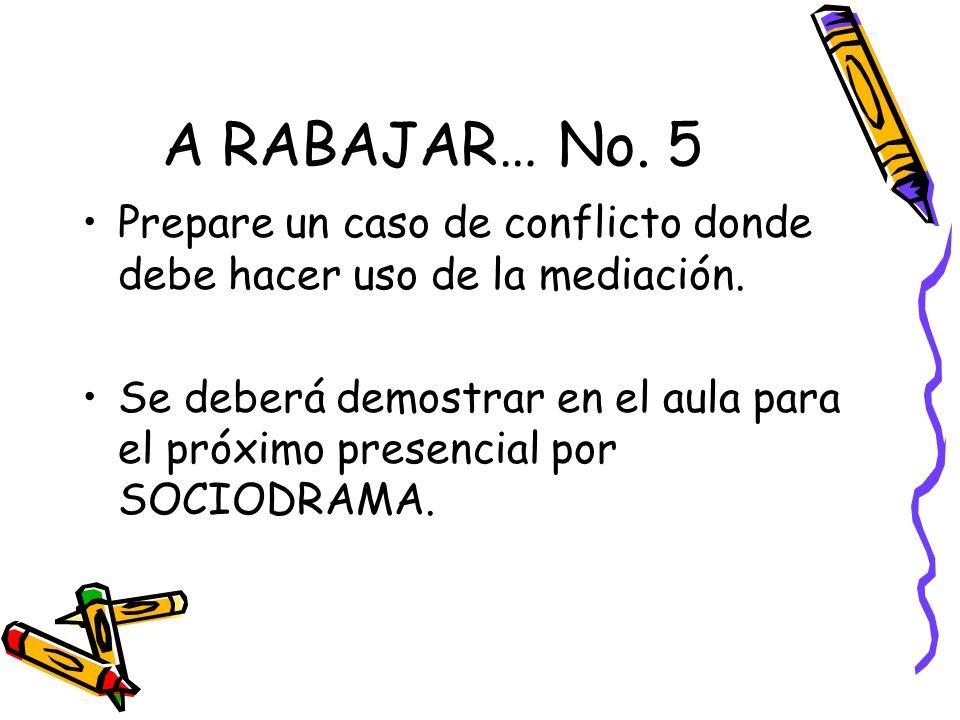 A RABAJAR… No. 5 Prepare un caso de conflicto donde debe hacer uso de la mediación. Se deberá demostrar en el aula para el próximo presencial por SOCI