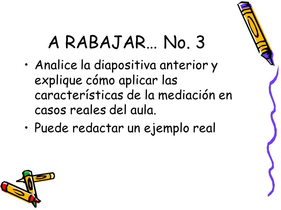 A RABAJAR… No. 3 Analice la diapositiva anterior y explique cómo aplicar las características de la mediación en casos reales del aula. Puede redactar