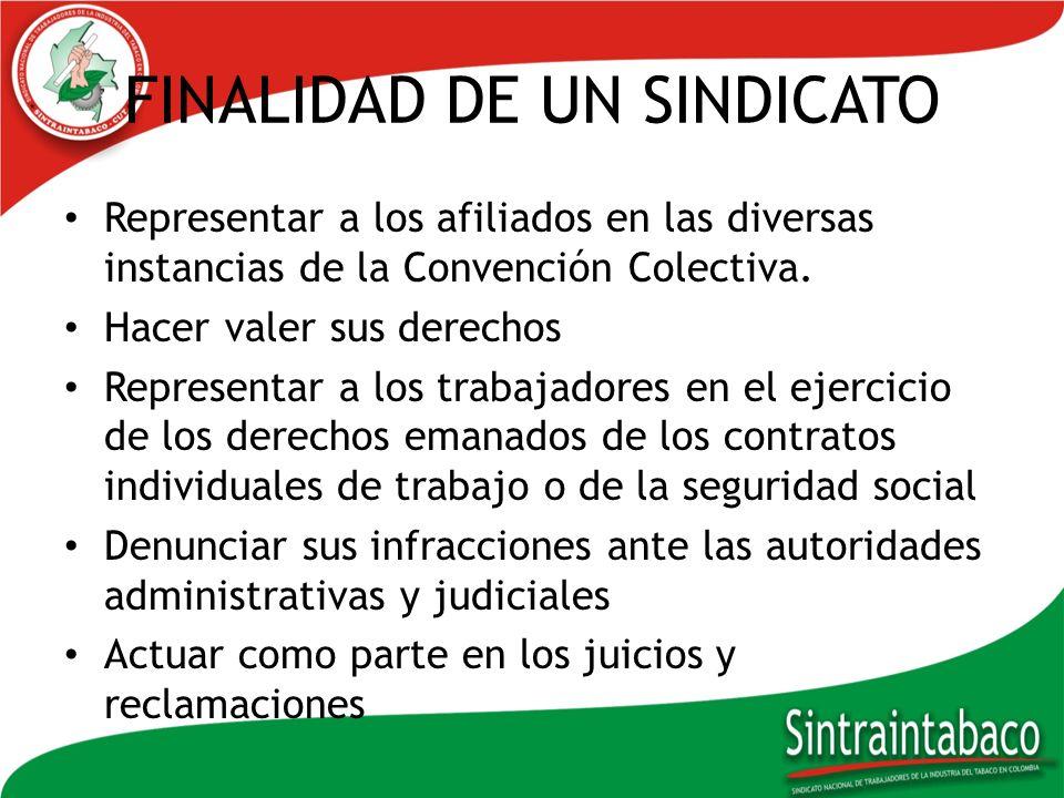 FINALIDAD DE UN SINDICATO Representar a los afiliados en las diversas instancias de la Convención Colectiva. Hacer valer sus derechos Representar a lo