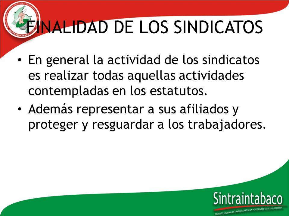 FINALIDAD DE LOS SINDICATOS En general la actividad de los sindicatos es realizar todas aquellas actividades contempladas en los estatutos. Además rep