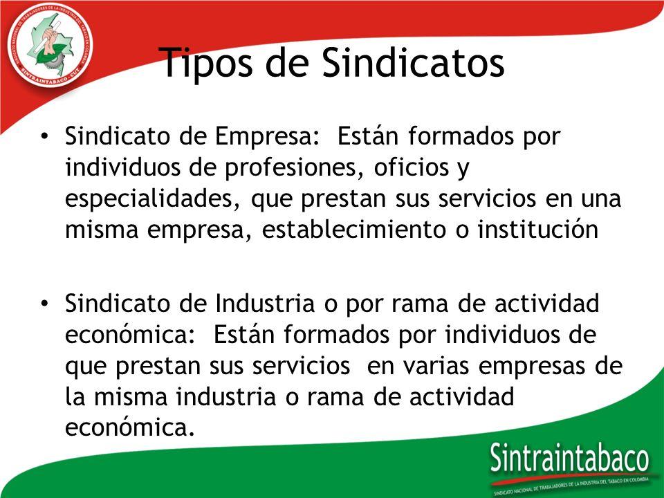Tipos de Sindicatos Sindicato de Empresa: Están formados por individuos de profesiones, oficios y especialidades, que prestan sus servicios en una mis