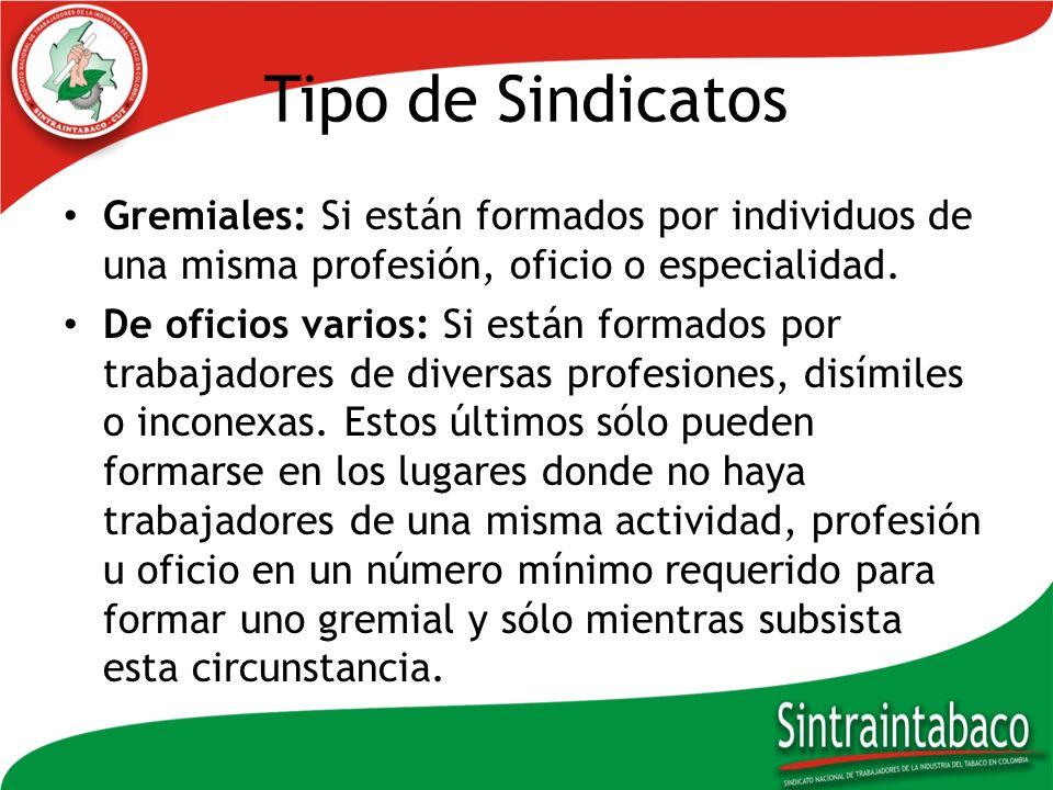 Tipo de Sindicatos Gremiales: Si están formados por individuos de una misma profesión, oficio o especialidad. De oficios varios: Si están formados por