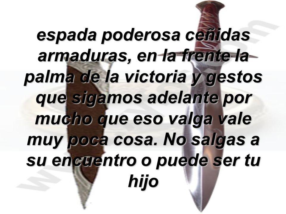 espada poderosa ceñidas armaduras, en la frente la palma de la victoria y gestos que sigamos adelante por mucho que eso valga vale muy poca cosa. No s