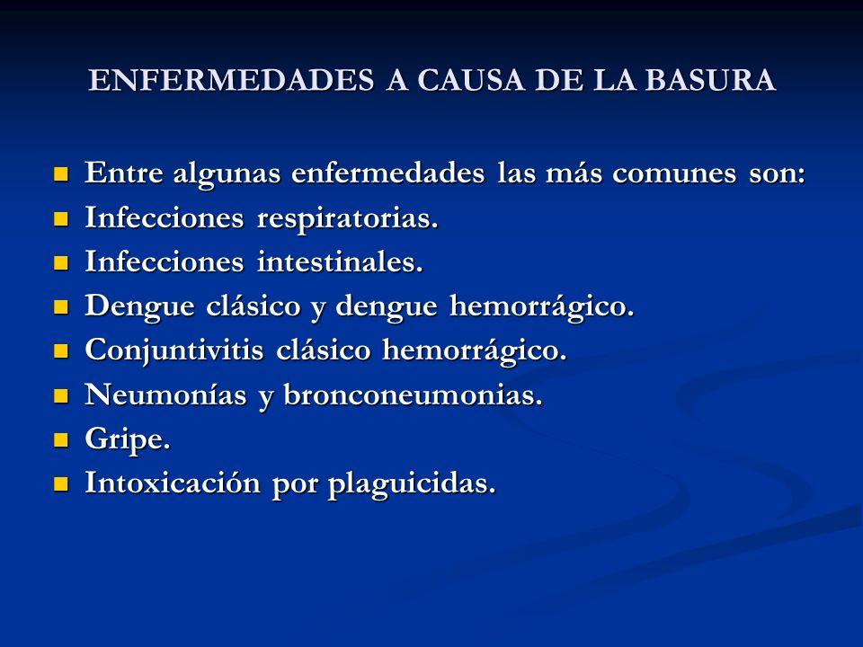 ENFERMEDADES A CAUSA DE LA BASURA Entre algunas enfermedades las más comunes son: Entre algunas enfermedades las más comunes son: Infecciones respirat