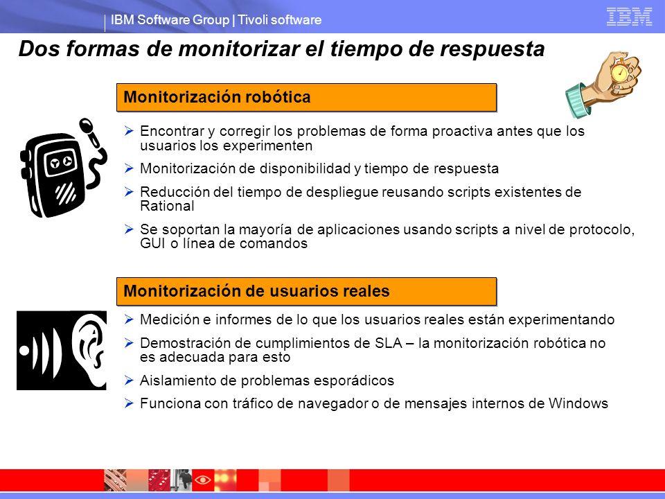 IBM Software Group | Tivoli software Dos formas de monitorizar el tiempo de respuesta Encontrar y corregir los problemas de forma proactiva antes que los usuarios los experimenten Monitorización de disponibilidad y tiempo de respuesta Reducción del tiempo de despliegue reusando scripts existentes de Rational Se soportan la mayoría de aplicaciones usando scripts a nivel de protocolo, GUI o línea de comandos Medición e informes de lo que los usuarios reales están experimentando Demostración de cumplimientos de SLA – la monitorización robótica no es adecuada para esto Aislamiento de problemas esporádicos Funciona con tráfico de navegador o de mensajes internos de Windows Monitorización robótica Monitorización de usuarios reales