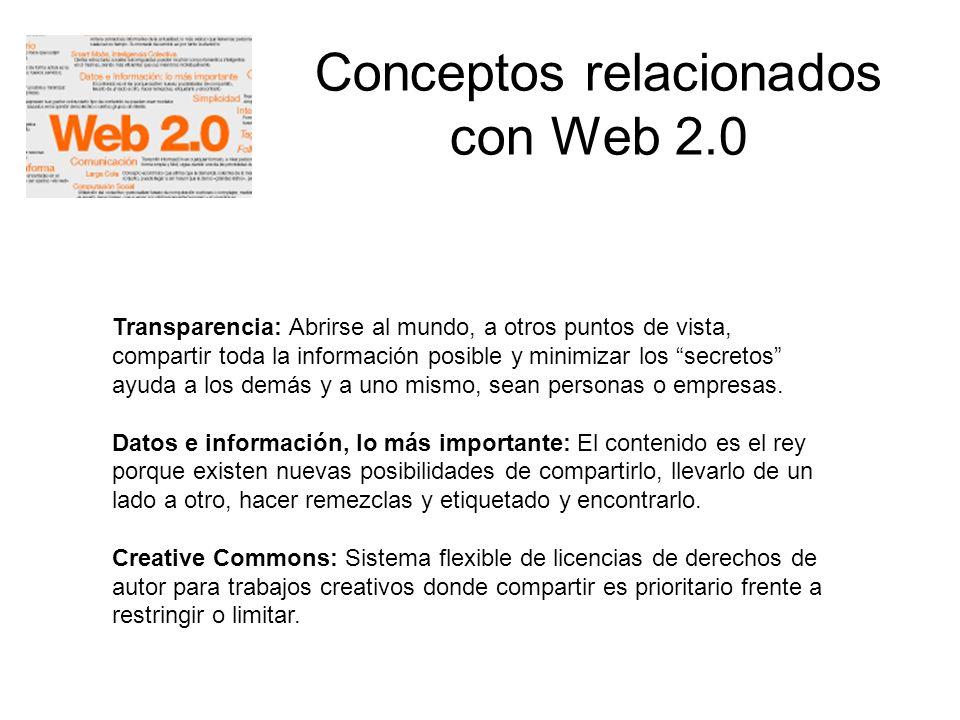 Conceptos relacionados con Web 2.0 Transparencia: Abrirse al mundo, a otros puntos de vista, compartir toda la información posible y minimizar los sec