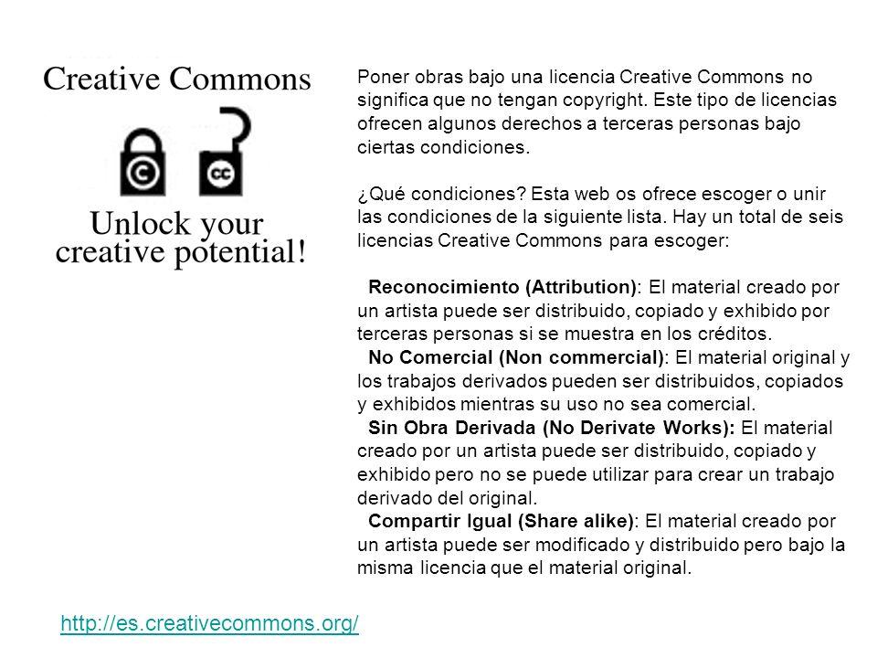 Poner obras bajo una licencia Creative Commons no significa que no tengan copyright. Este tipo de licencias ofrecen algunos derechos a terceras person