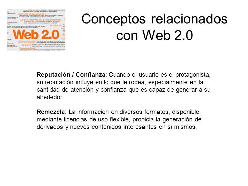 Conceptos relacionados con Web 2.0 Reputación / Confianza: Cuando el usuario es el protagonista, su reputación influye en lo que le rodea, especialmen