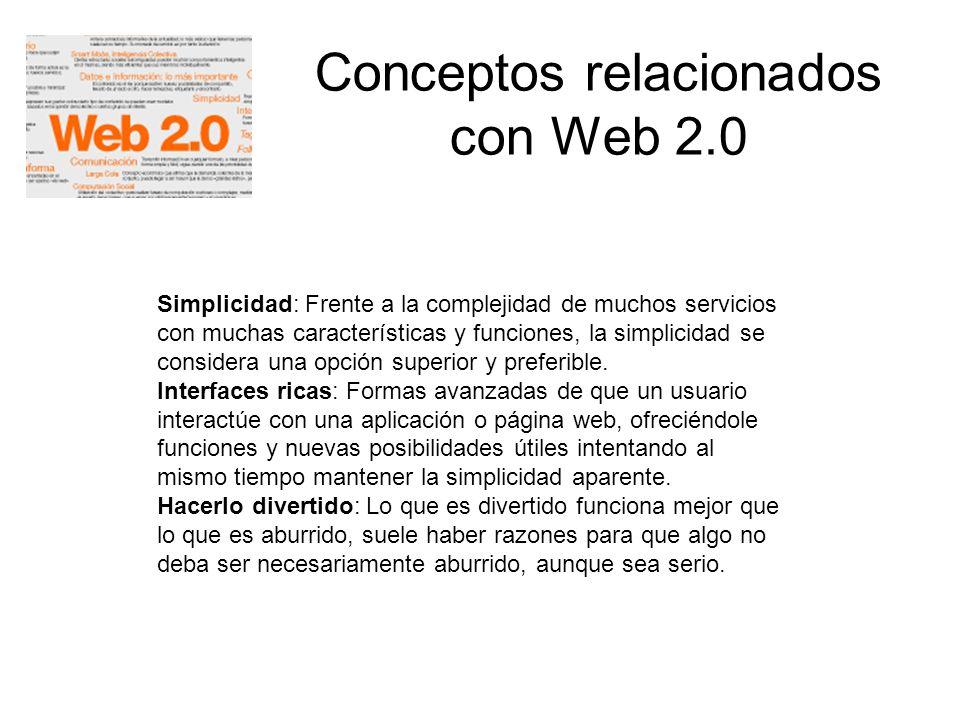 Conceptos relacionados con Web 2.0 Simplicidad: Frente a la complejidad de muchos servicios con muchas características y funciones, la simplicidad se