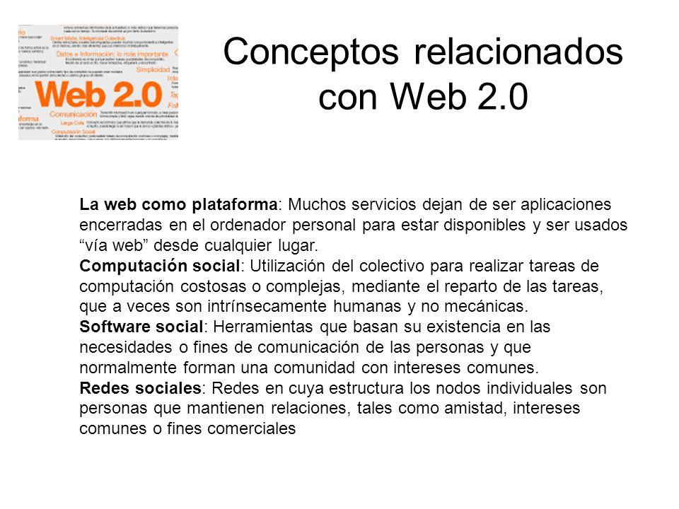 Conceptos relacionados con Web 2.0 La web como plataforma: Muchos servicios dejan de ser aplicaciones encerradas en el ordenador personal para estar d