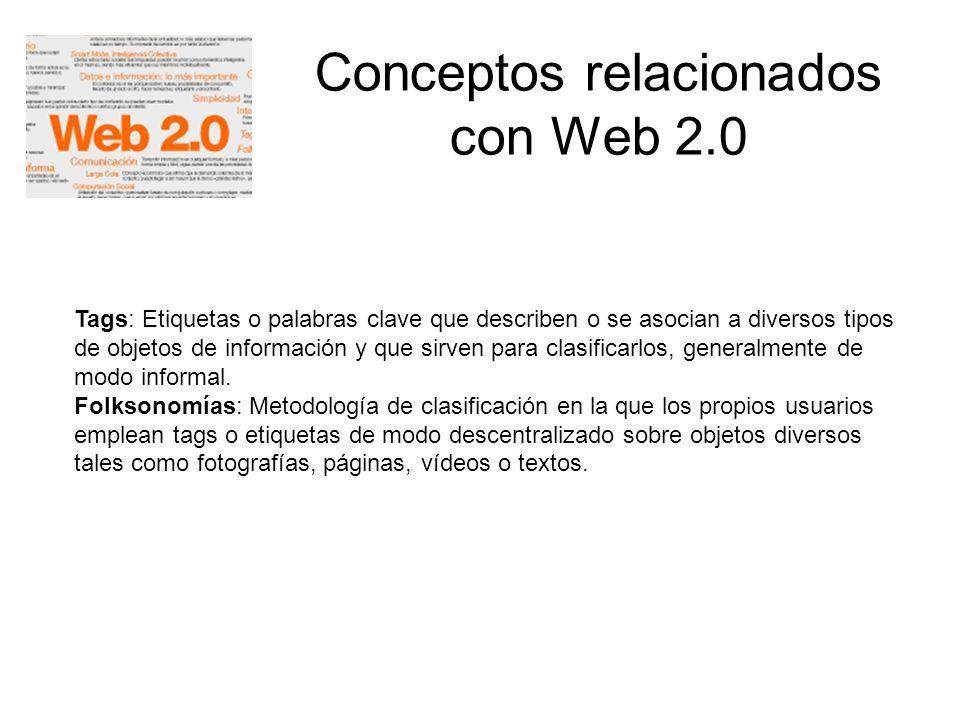 Conceptos relacionados con Web 2.0 Tags: Etiquetas o palabras clave que describen o se asocian a diversos tipos de objetos de información y que sirven