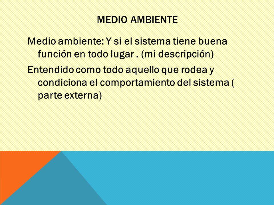 MEDIO AMBIENTE Medio ambiente: Y si el sistema tiene buena función en todo lugar. (mi descripción) Entendido como todo aquello que rodea y condiciona