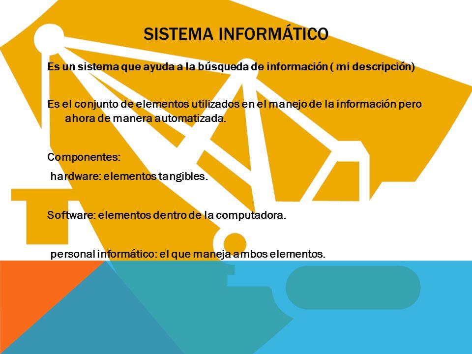 SISTEMA INFORMÁTICO Es un sistema que ayuda a la búsqueda de información ( mi descripción) Es el conjunto de elementos utilizados en el manejo de la i