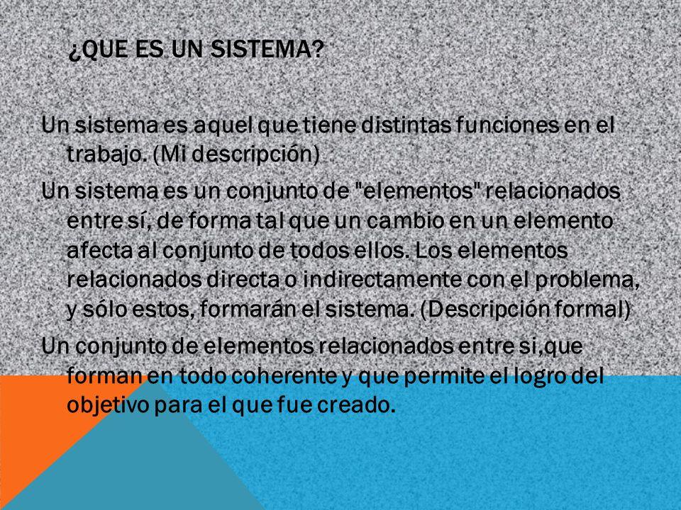 ¿QUE ES UN SISTEMA? Un sistema es aquel que tiene distintas funciones en el trabajo. (Mi descripción) Un sistema es un conjunto de