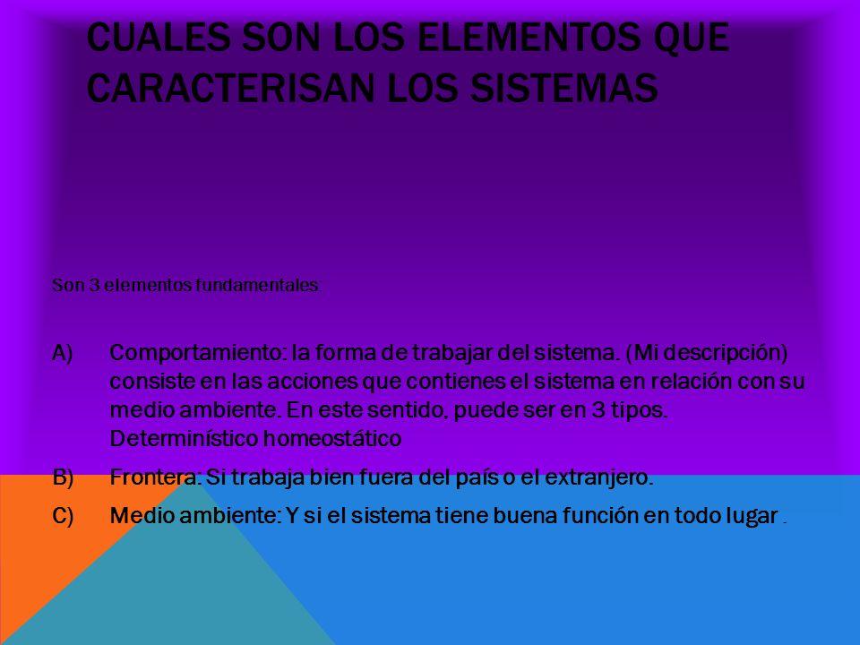 CUALES SON LOS ELEMENTOS QUE CARACTERISAN LOS SISTEMAS Son 3 elementos fundamentales: A)Comportamiento: la forma de trabajar del sistema. (Mi descripc