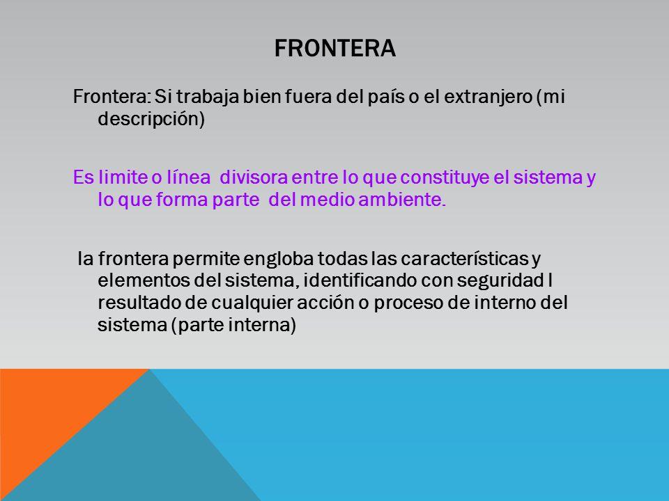 FRONTERA Frontera: Si trabaja bien fuera del país o el extranjero (mi descripción) Es limite o línea divisora entre lo que constituye el sistema y lo