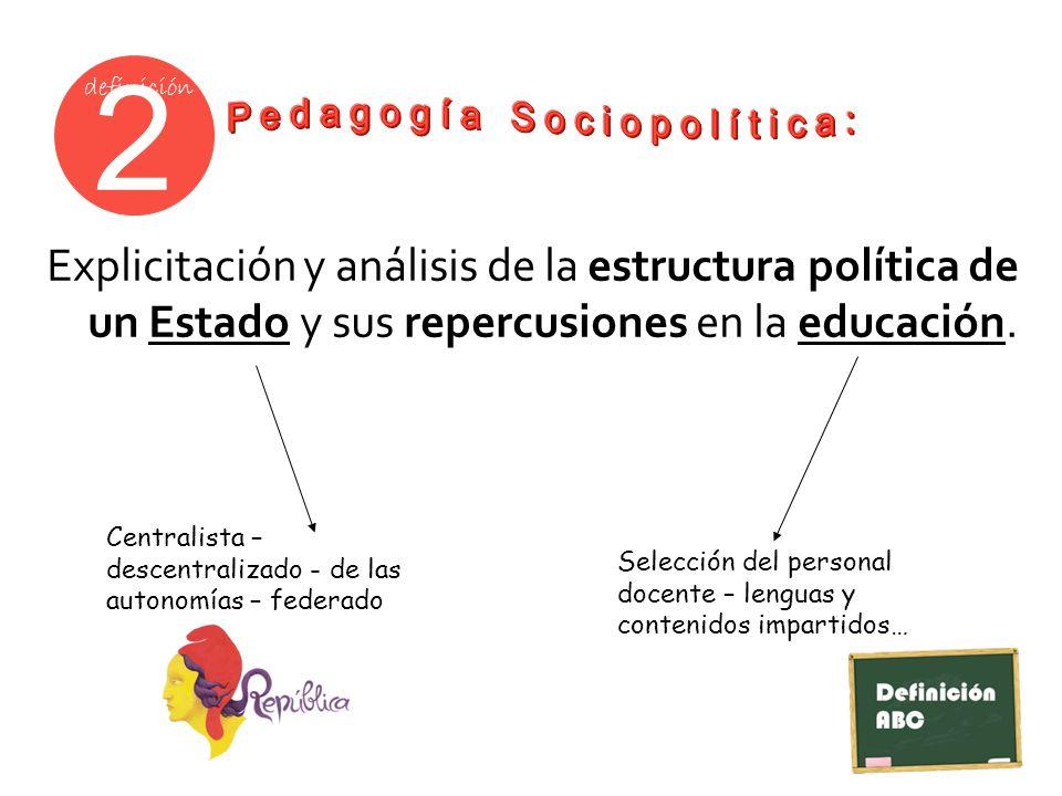 2 definición Explicitación y análisis de la estructura política de un Estado y sus repercusiones en la educación. Centralista – descentralizado - de l