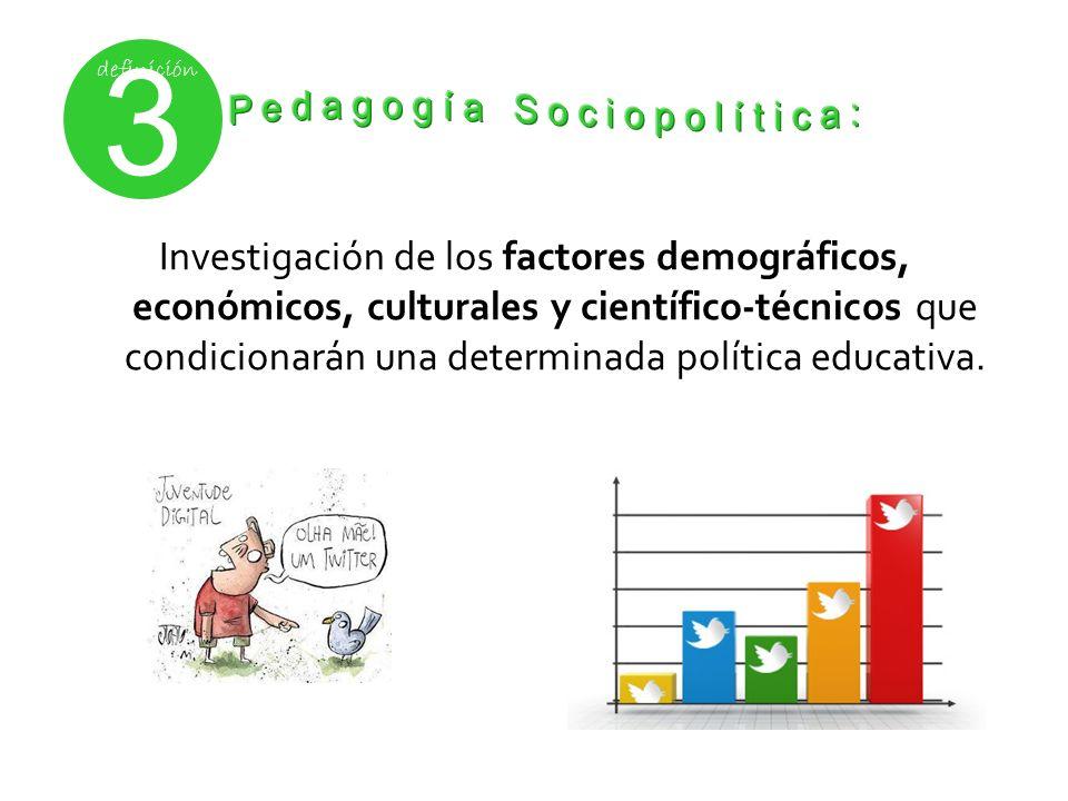 Investigación de los factores demográficos, económicos, culturales y científico-técnicos que condicionarán una determinada política educativa. 3 defin