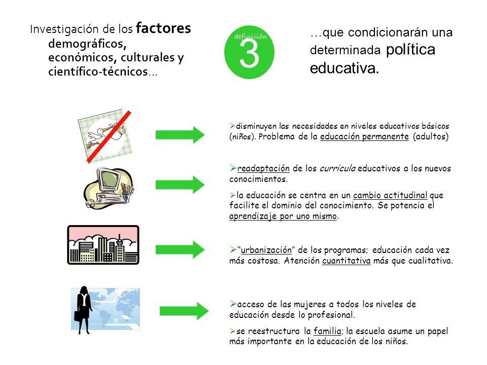 Investigación de los factores demográficos, económicos, culturales y científico-técnicos… 3 definición …que condicionarán una determinada política edu