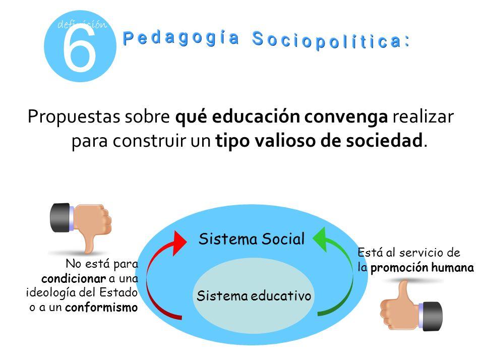 6 definición Propuestas sobre qué educación convenga realizar para construir un tipo valioso de sociedad. Sistema Social Sistema educativo No está par