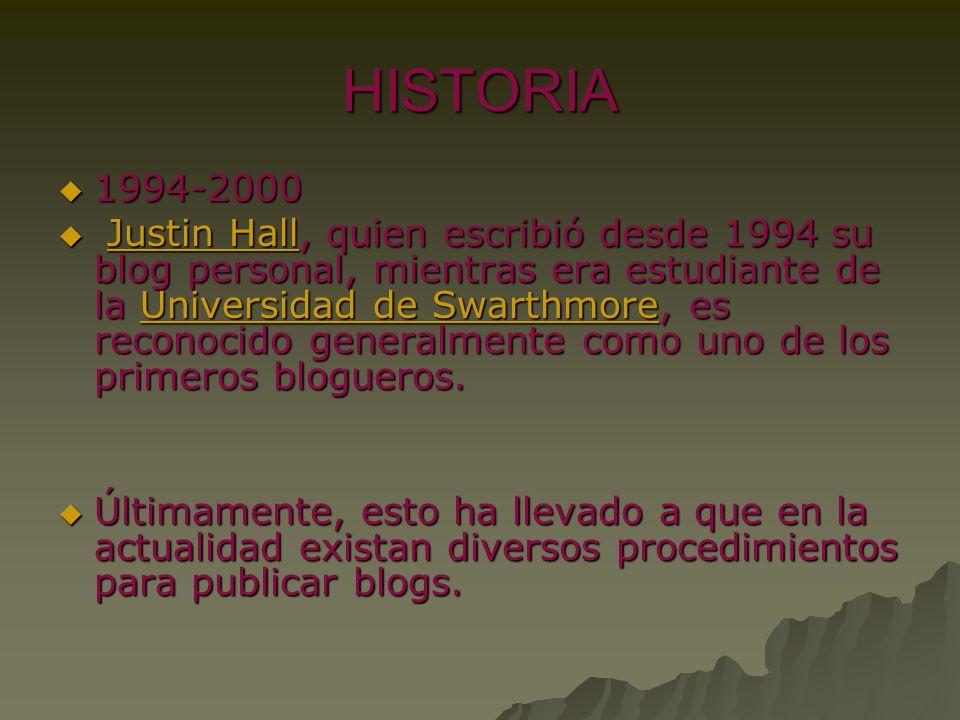 HISTORIA 1994-2000 1994-2000 Justin Hall, quien escribió desde 1994 su blog personal, mientras era estudiante de la Universidad de Swarthmore, es reco