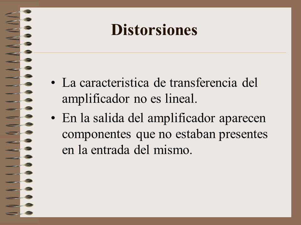 Distorsiones La caracteristica de transferencia del amplificador no es lineal. En la salida del amplificador aparecen componentes que no estaban prese
