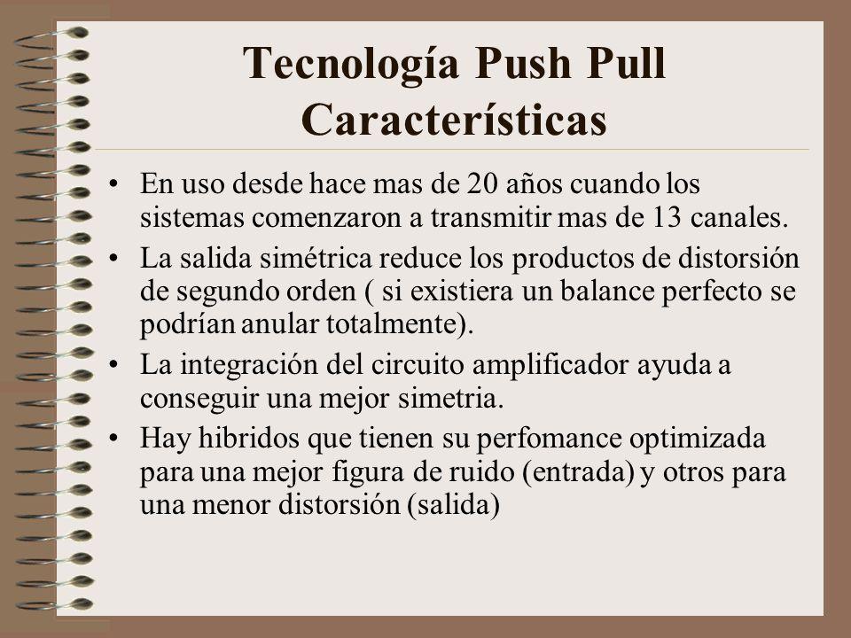 Tecnología Push Pull Características En uso desde hace mas de 20 años cuando los sistemas comenzaron a transmitir mas de 13 canales. La salida simétri