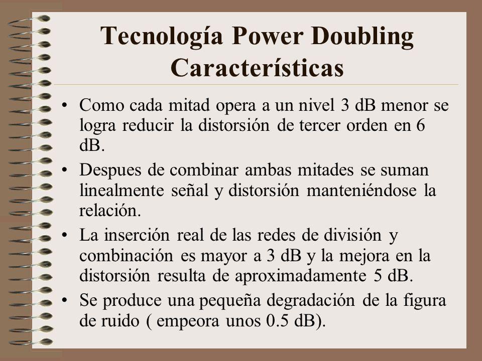 Tecnología Power Doubling Características Como cada mitad opera a un nivel 3 dB menor se logra reducir la distorsión de tercer orden en 6 dB. Despues
