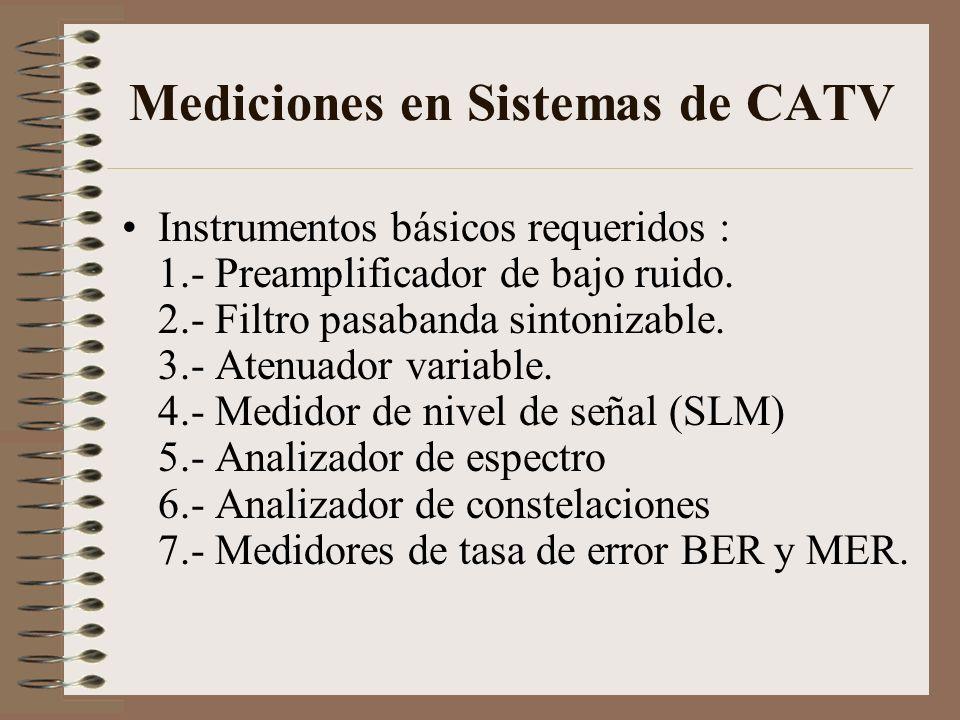 Mediciones en Sistemas de CATV Instrumentos básicos requeridos : 1.- Preamplificador de bajo ruido. 2.- Filtro pasabanda sintonizable. 3.- Atenuador v