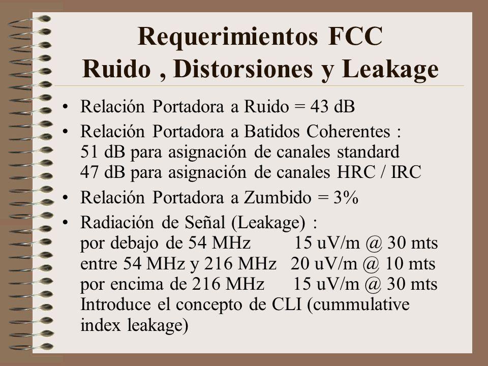 Requerimientos FCC Ruido, Distorsiones y Leakage Relación Portadora a Ruido = 43 dB Relación Portadora a Batidos Coherentes : 51 dB para asignación de