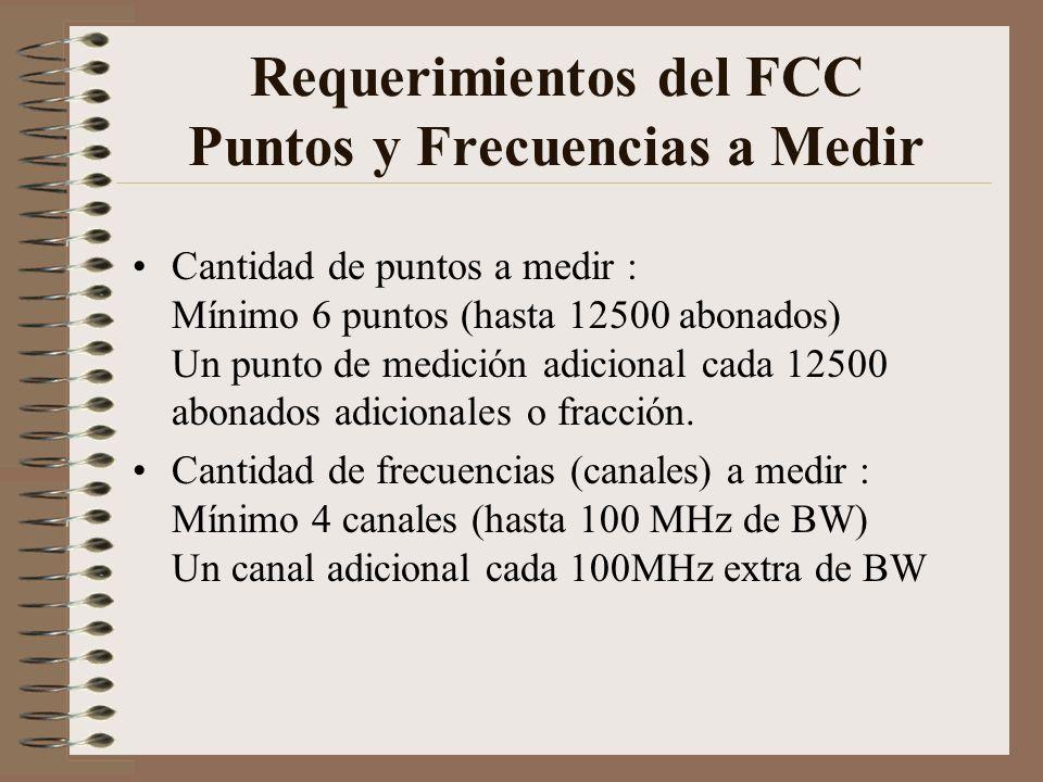 Requerimientos del FCC Puntos y Frecuencias a Medir Cantidad de puntos a medir : Mínimo 6 puntos (hasta 12500 abonados) Un punto de medición adicional