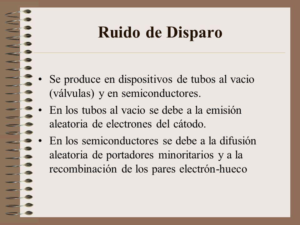 Ruido de Disparo Se produce en dispositivos de tubos al vacio (válvulas) y en semiconductores. En los tubos al vacio se debe a la emisión aleatoria de