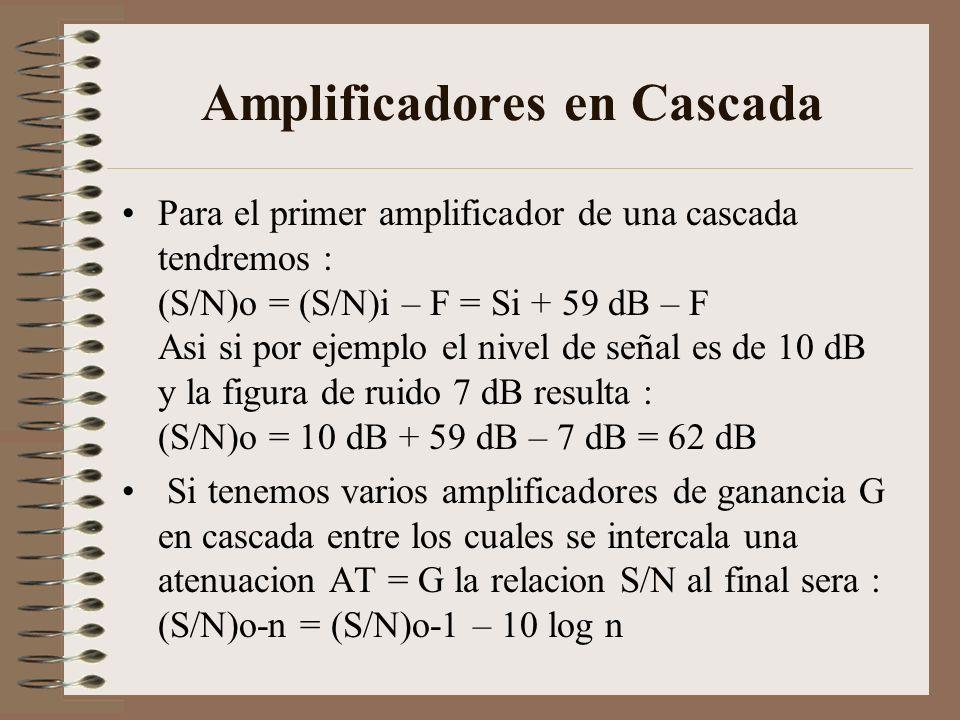 Amplificadores en Cascada Para el primer amplificador de una cascada tendremos : (S/N)o = (S/N)i – F = Si + 59 dB – F Asi si por ejemplo el nivel de s