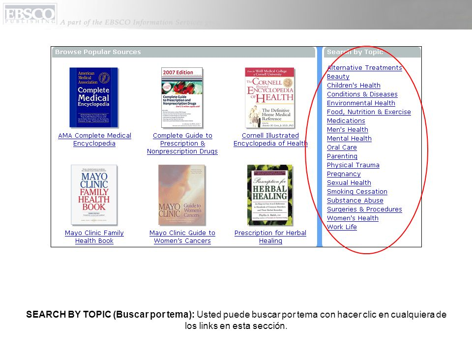 SEARCH BY TOPIC (Buscar por tema): Usted puede buscar por tema con hacer clic en cualquiera de los links en esta sección.