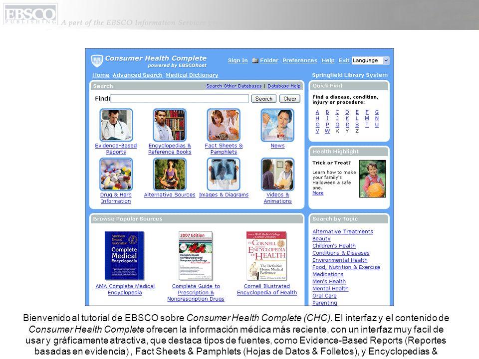 Bienvenido al tutorial de EBSCO sobre Consumer Health Complete (CHC).