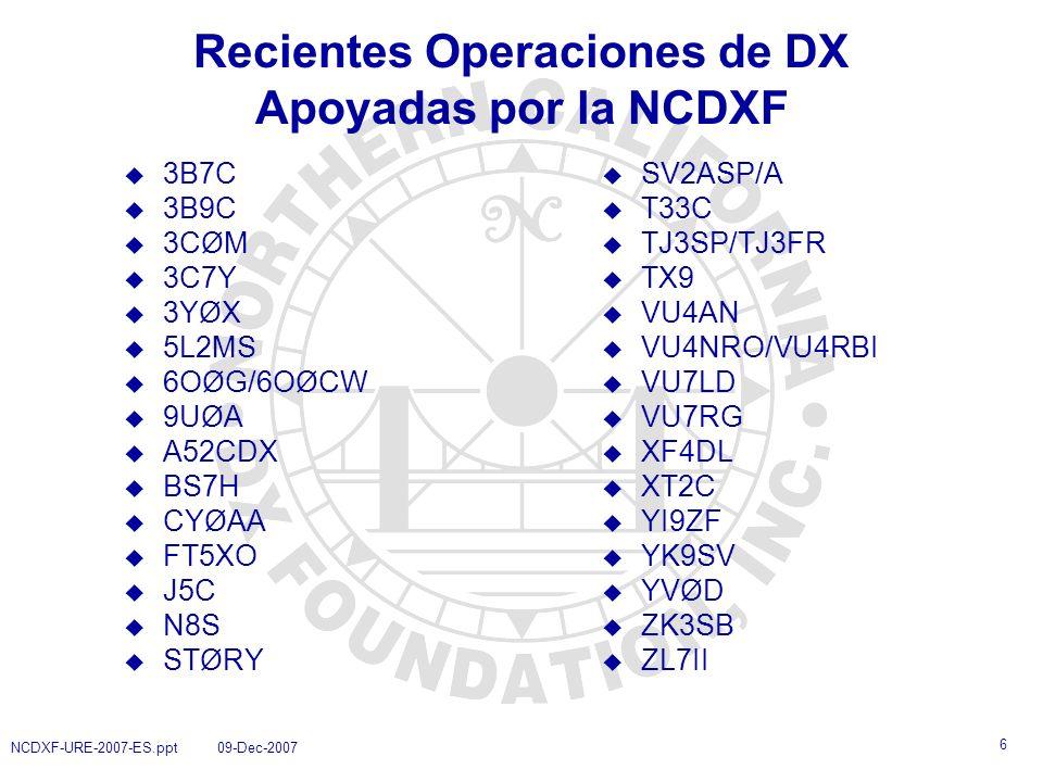 7 NCDXF-URE-2007-ES.ppt 09-Dec-2007 Expediciones de Interés para los Miembros de la URE